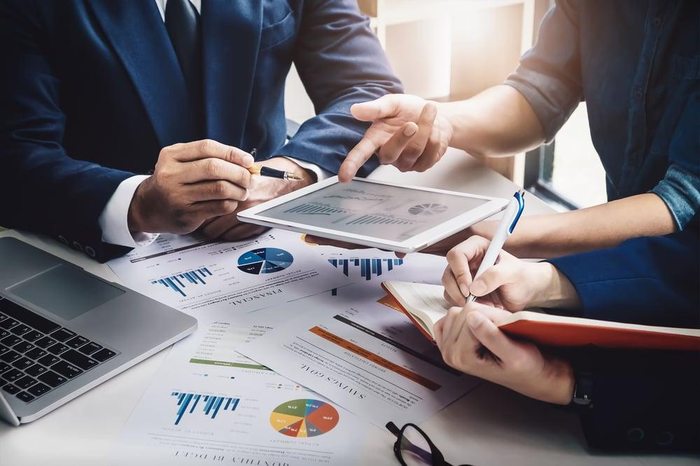team using financial management software